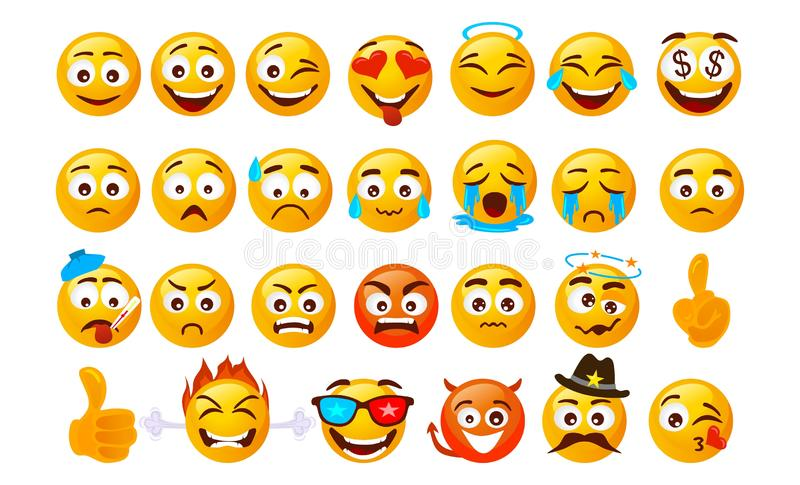 Set of smiley emoticons. Vector faces with different emotions isolated on white background. Vector smileys face vector illustration