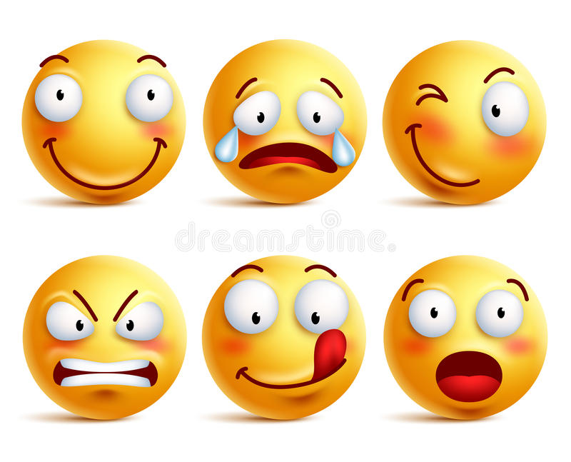 Set of smiley face icons or yellow emoticons with different facial expressions vector illustration