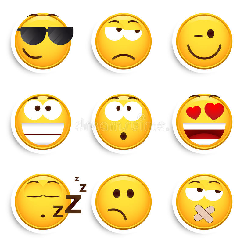 Set of smiley faces vector illustration