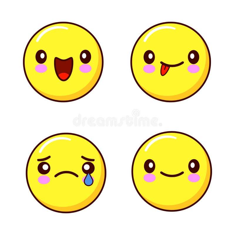 Set smiley twarzy ikony lub żółci emoticons z różnymi wyrazami twarzy odizolowywałem w białym tle mieszkanie ilustracji