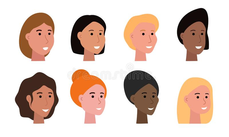 Set of smiling faces of woman of various ethnicity and with different skin tone and haircuts. Heads of female characters isolated on white, human faces vector vector illustration