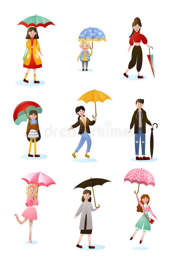 Set of smiling people character of different ages with umbrellas. In rainy day. Cartoon style for your design. Vector illustration on white background vector illustration