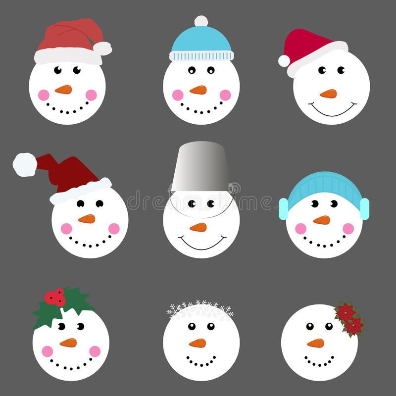 Set of smiling snowman. collection of templates for decoration a royalty free stock photography
