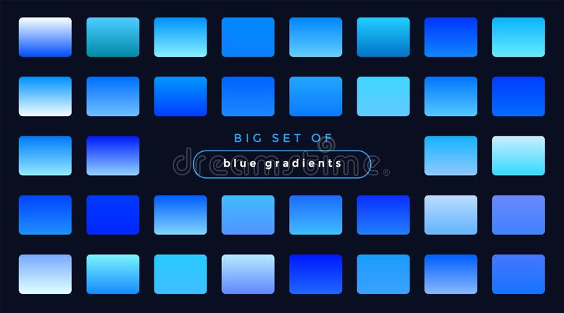 Set of smooth blue gradients stock illustration