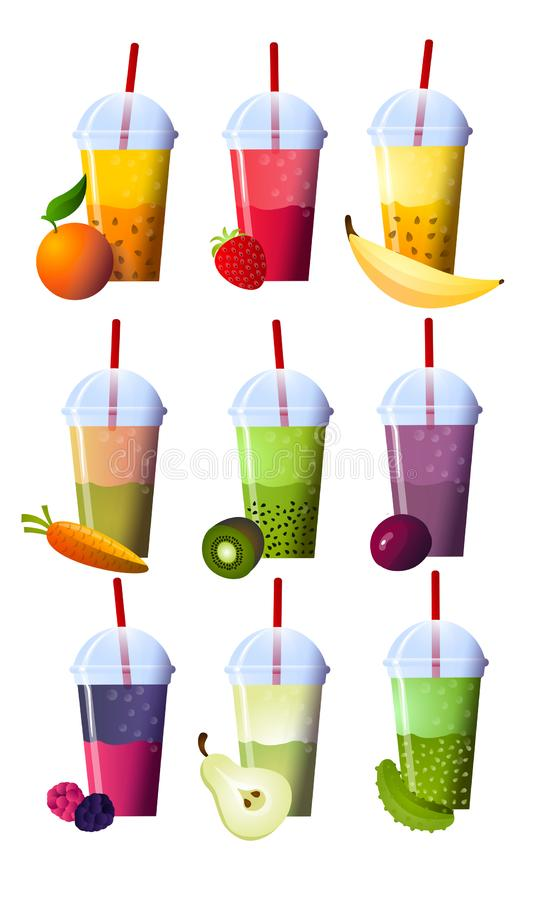 Set of smoothies in different cups. Superfoods and health or detox diet food concept in sketch style. Vector illustration of different food products on white vector illustration