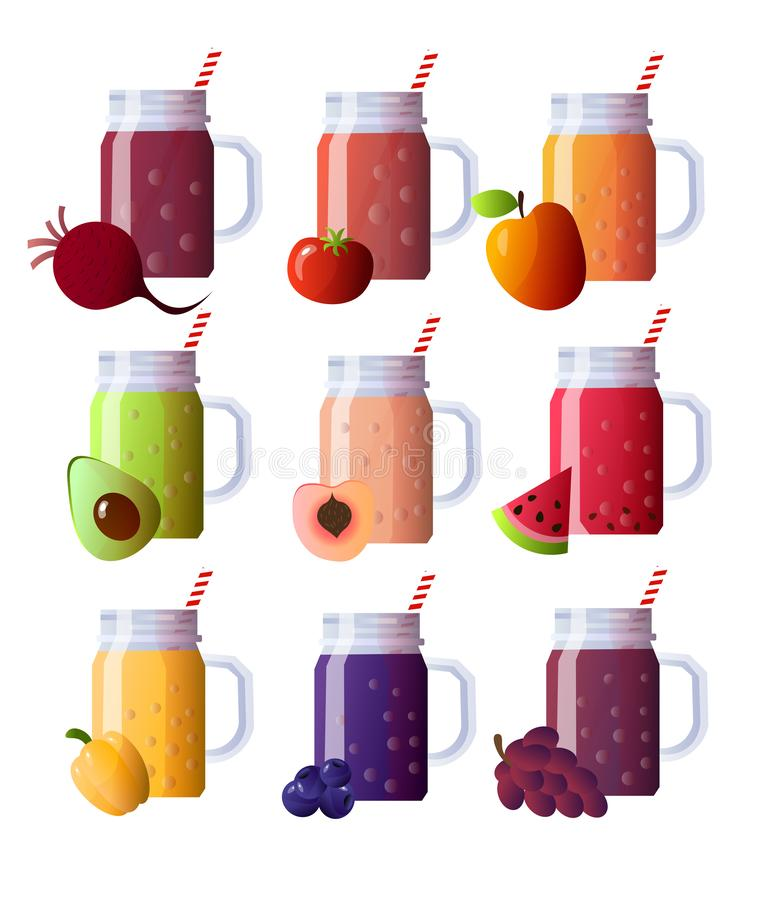 Set of smoothies in different cups. Superfoods and health or detox diet food concept in sketch style. Vector illustration of different food products on white royalty free illustration