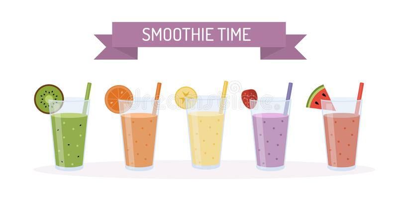 Set of smoothies in glasses stock illustration