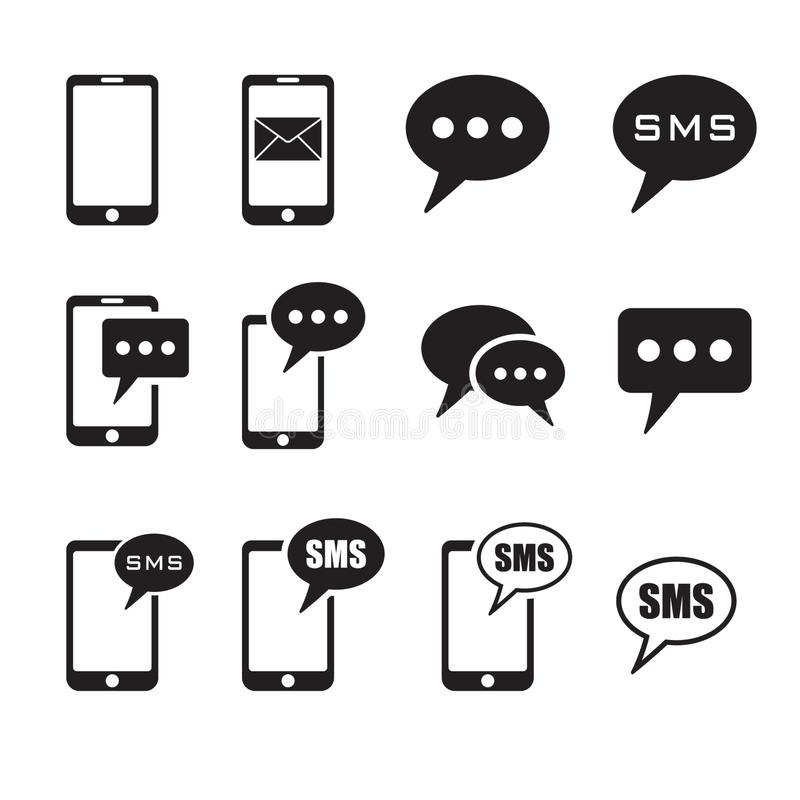 Set of SMS icons, SMS message in smartphone icon. SMS message icon in flat style isolated on white background. Sms symbol in phone. Vector illustration stock illustration