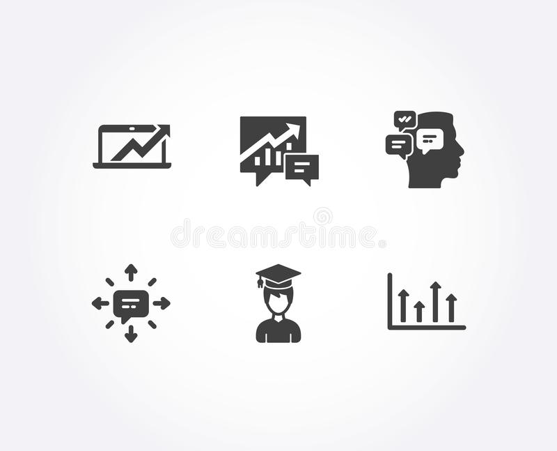 Sms, Messages and Accounting icons. Sales diagram, Student and Upper arrows signs. Set of Sms, Messages and Accounting icons. Sales diagram, Student and Upper vector illustration