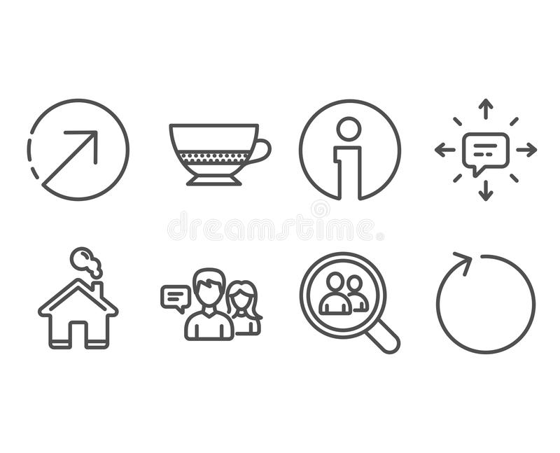 Sms, People talking and Search employees icons. Bombon coffee, Direction and Loop signs. Set of Sms, People talking and Search employees icons. Bombon coffee vector illustration