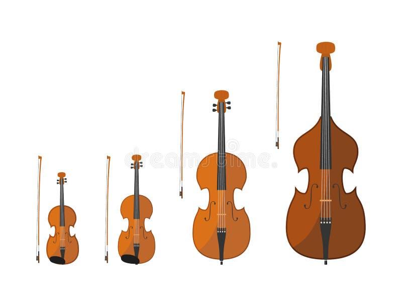 Set smyczkowi instrumenty bawić się kłaniać się sznurki ilustracji