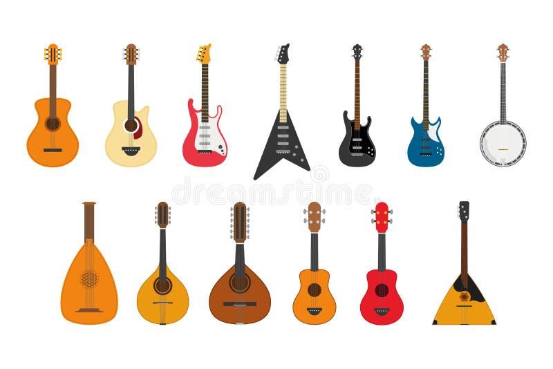 Set smyczkowi instrumenty bawić się skubać sznurki ilustracji
