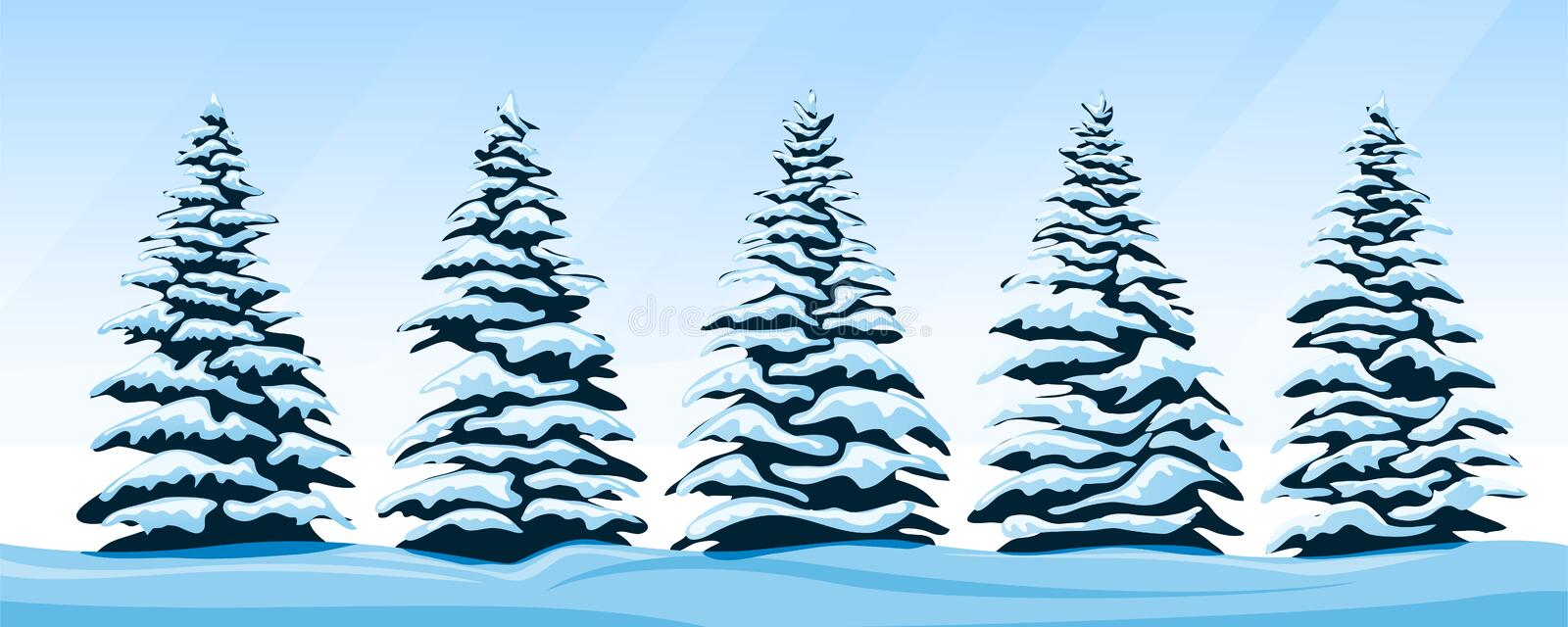 Download Set of snow-covered firs stock vector. Illustration of merry - 99370817