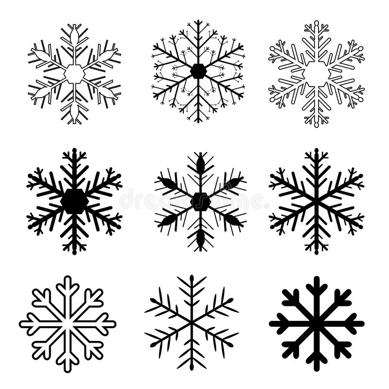 Set of snow flakes on white background, stock illustration