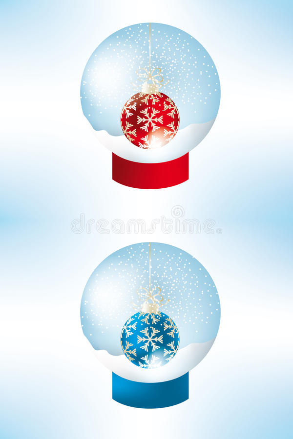 Set of snow globes. With red and blue balls decorated by golden snowflakes - eps 10 vectors royalty free illustration
