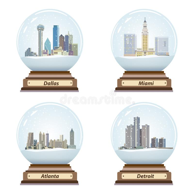 Vector set of snow globes with United States city skylines inside. Set of snow globes with United States city skylines inside stock illustration