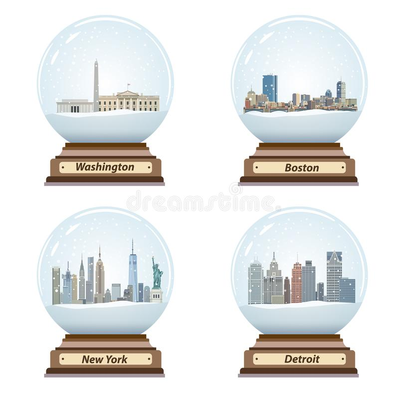 Vector set of snow globes with United States city skylines. Set of snow globes with United States city skylines royalty free illustration