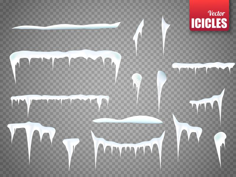Set of snow icicles isolated on transparent background. Vector stock illustration