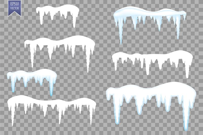 Set of snow icicles, snow cap isolated on transparent background. Snowy elements on winter background. Vector template vector illustration