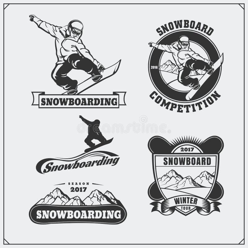 Set of Snowboarding extreme labels, emblems, badges and design elements. Vintage mountain adventure symbols. royalty free illustration