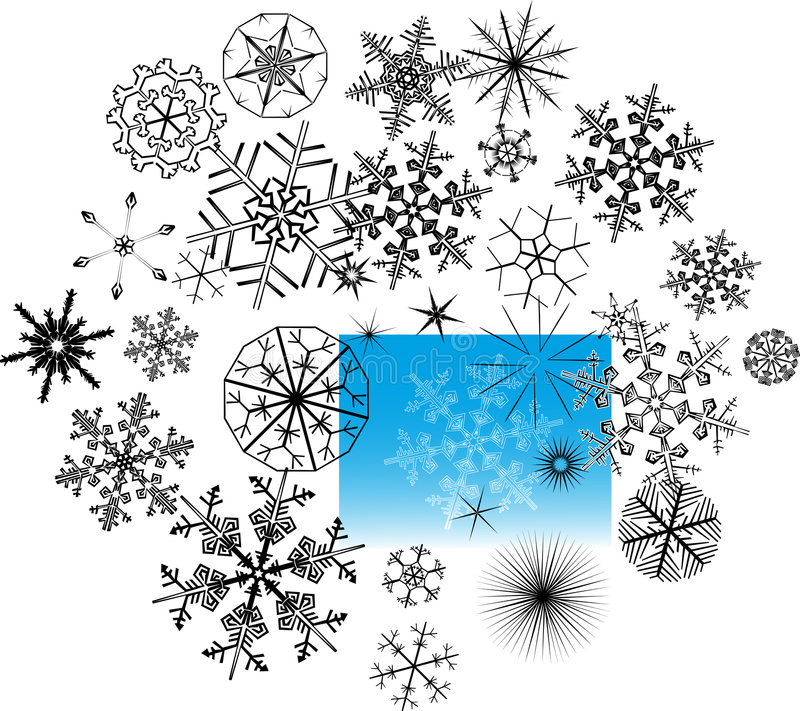 Set of snowflake crystals. Computer generated set of snowflake crystals stock illustration