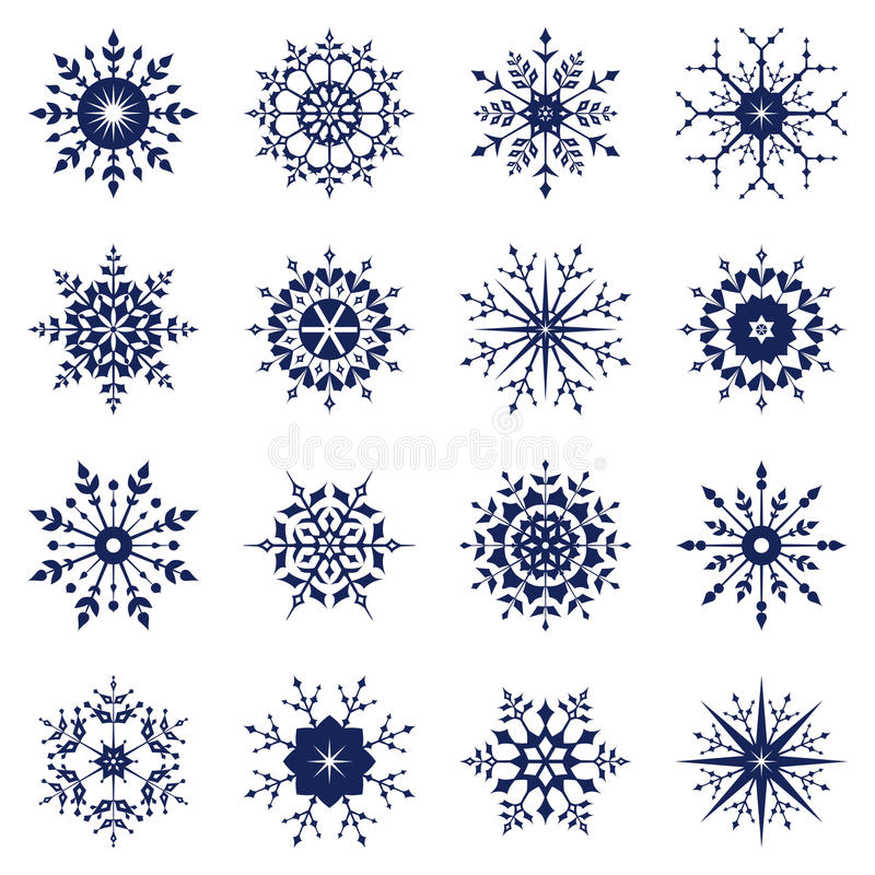 Set of snowflake vector illustration