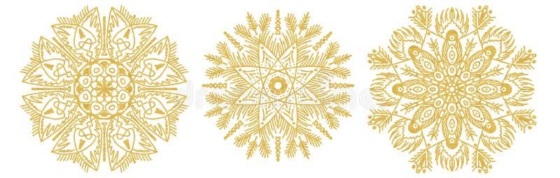 Set of snowflake sketch icon isolated on white background Hand drawn mandala Свирль золотые иконки для инфографии, веб-сайт бесплатная иллюстрация