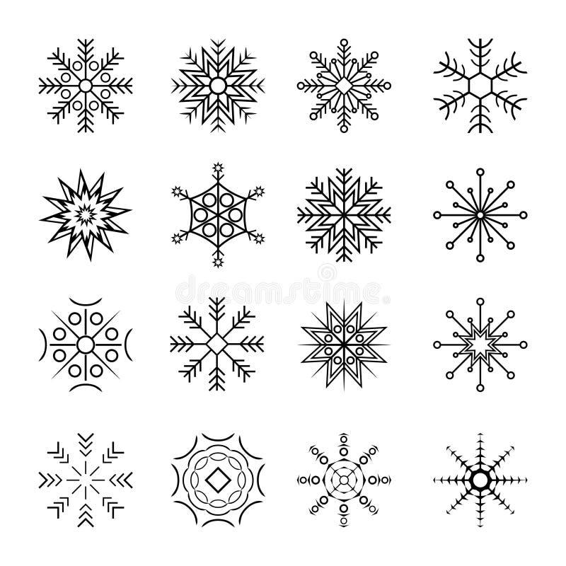 set snowflakes för symbol 16different stock illustrationer