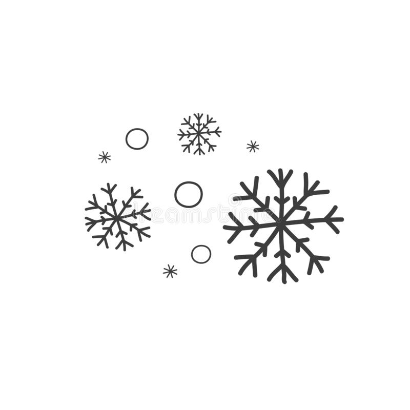 Set of snowflakes in the style of doodle. Symbol of cold weather. Vector illustration by hand stock illustration