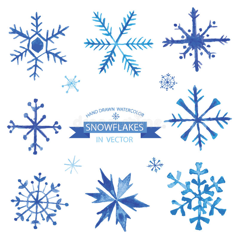 Set of Snowflakes in Watercolor vector illustration