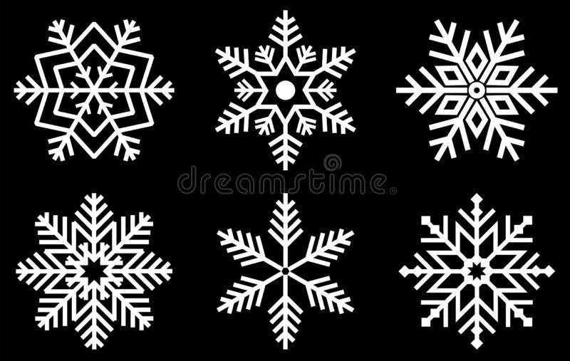 Set of Snowflakes. Winter snowflake crystals christmas snow shapes and frosted cool blue icon cold xmas season frost snowfall de vector illustration