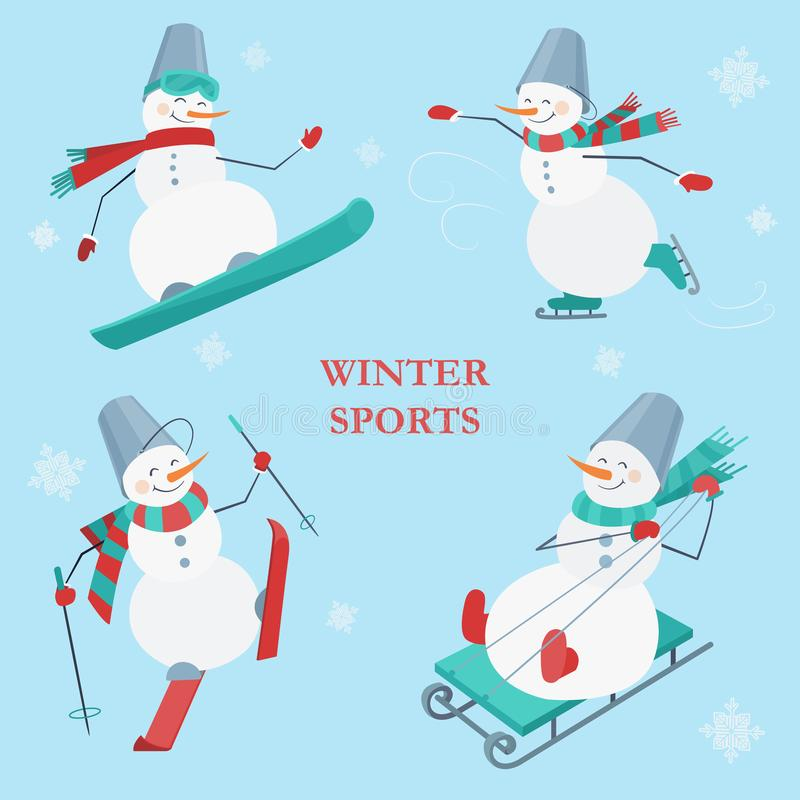 Set of snowmen on a blue background with snowflakes. Winter sports. Snowboarding, skating, skiing and sledging snowman. royalty free illustration