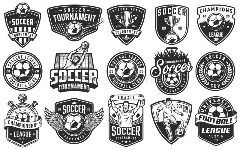 Set of soccer emblems royalty free illustration