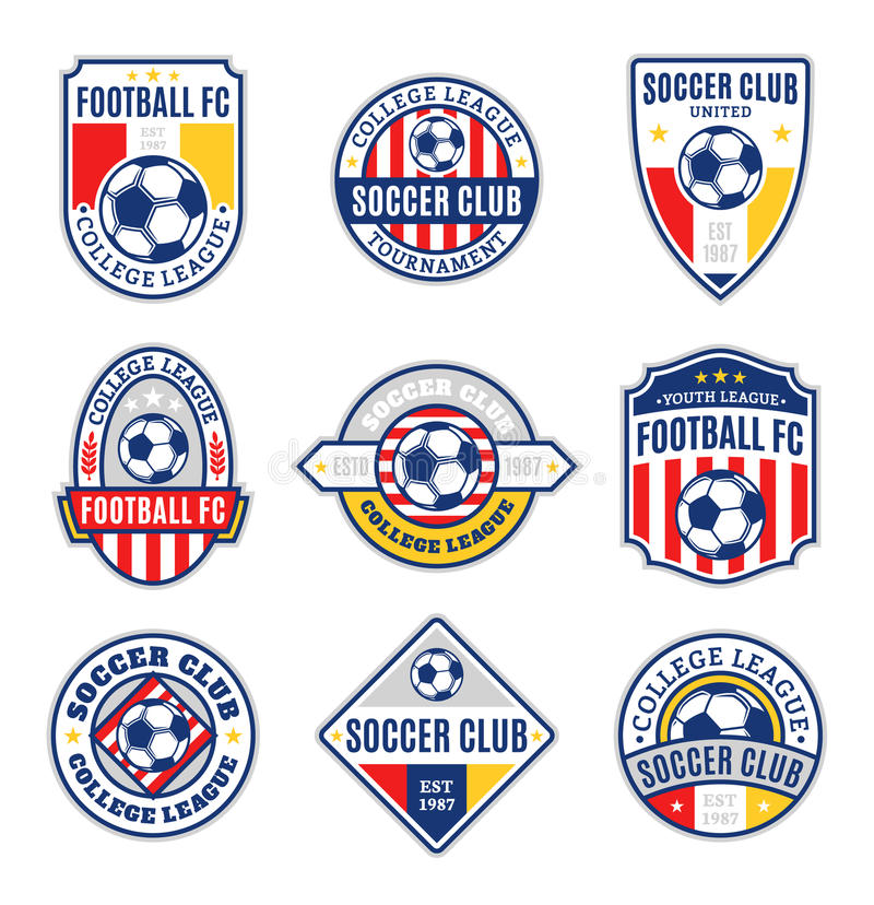 Set of Soccer Football Club Logo. Templates. Soccer football labels with sample text. Soccer Football icons for sport tournaments and organizations. Sport team vector illustration