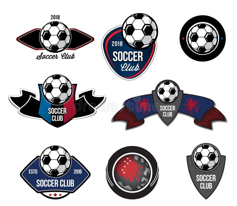 Set of soccer football logo, emblem, crests. Elements of design for football club, sports school stock illustration