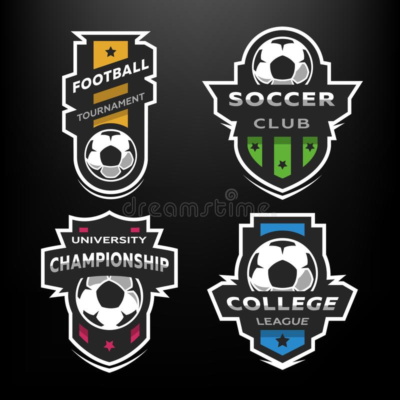 Set of Soccer Football logo, emblem. Design Templates on a dark background royalty free illustration