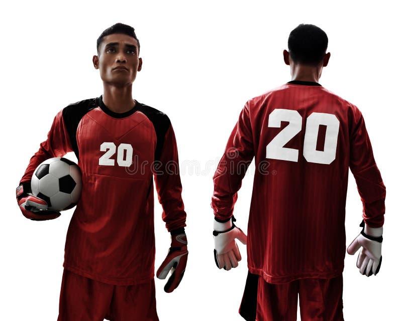 Set of soccer goalkeeper isolated on white backgrounds royalty free stock photo
