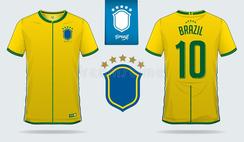 Set of soccer jersey or football kit template design for Brazil national football team. Front and back view soccer uniform. stock illustration