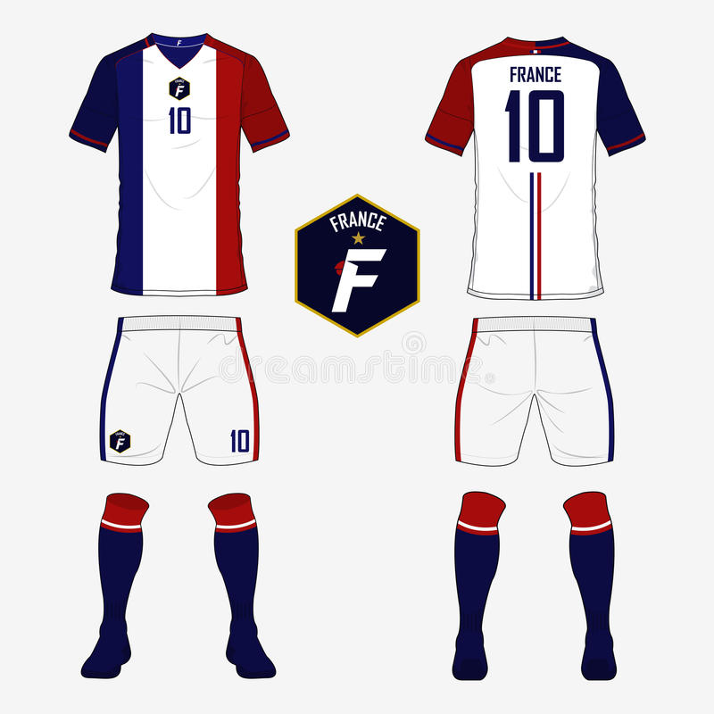 Set of soccer jersey or football kit template for France national football team. Front and back view soccer uniform. Sport shirt m royalty free illustration
