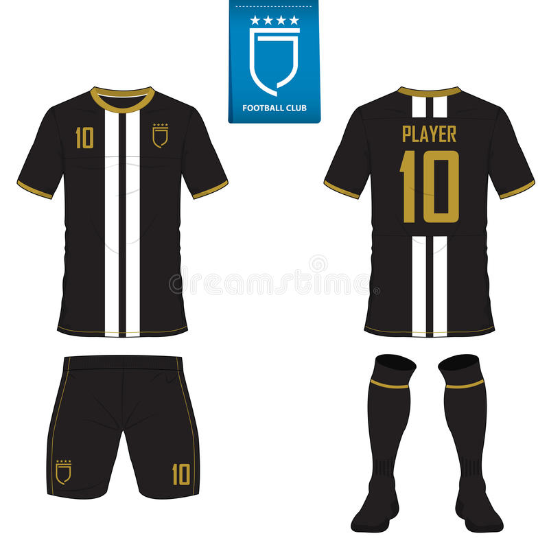 Set of soccer kit or football jersey template. Flat football logo. Front and back view soccer uniform. Vector. Set of soccer kit or football jersey template for stock illustration
