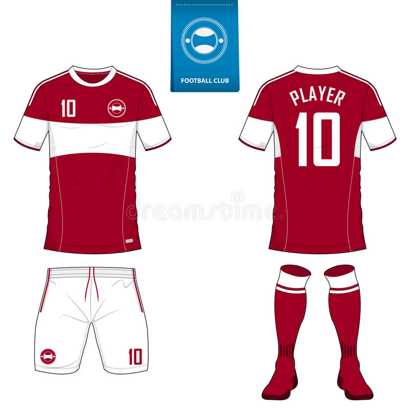 Set of soccer kit or football jersey template. Flat football logo. Front and back view soccer uniform. Vector. Set of soccer kit or football jersey template for royalty free illustration