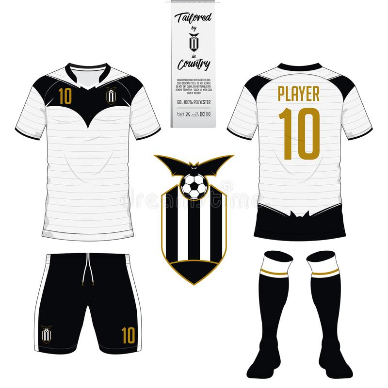 Set of soccer kit or football jersey template. Flat football logo. Soccer jersey or football kit, short, sock template for sport club. Football t-shirt mock up royalty free illustration