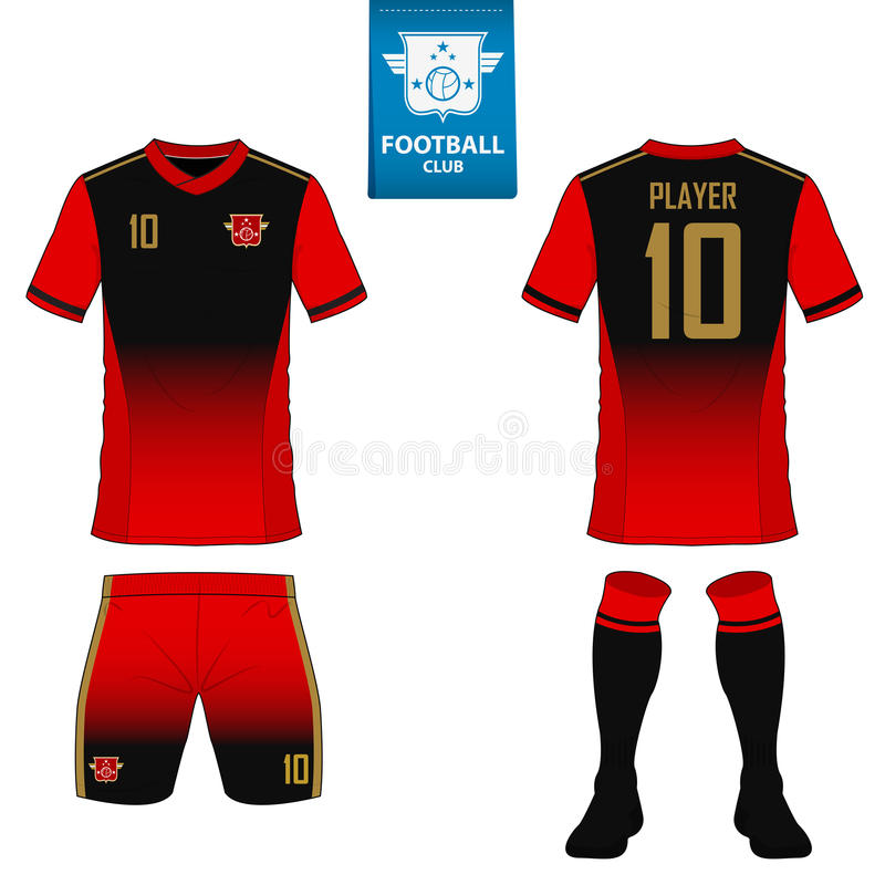 Set of soccer kit or football jersey template for football club. Flat football logo on blue label. Front and back view soccer uniform. Football shirt mock up royalty free illustration