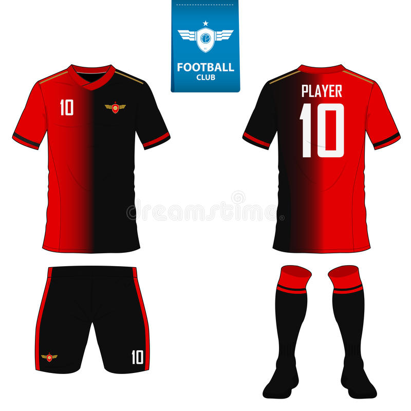 Set of soccer kit or football jersey template for football club. Flat football logo on blue label. Front and back view soccer unif. Orm. Football shirt mock up vector illustration
