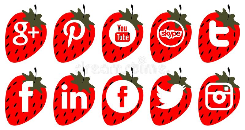 Set of social icons on strawberry isolated royalty free illustration