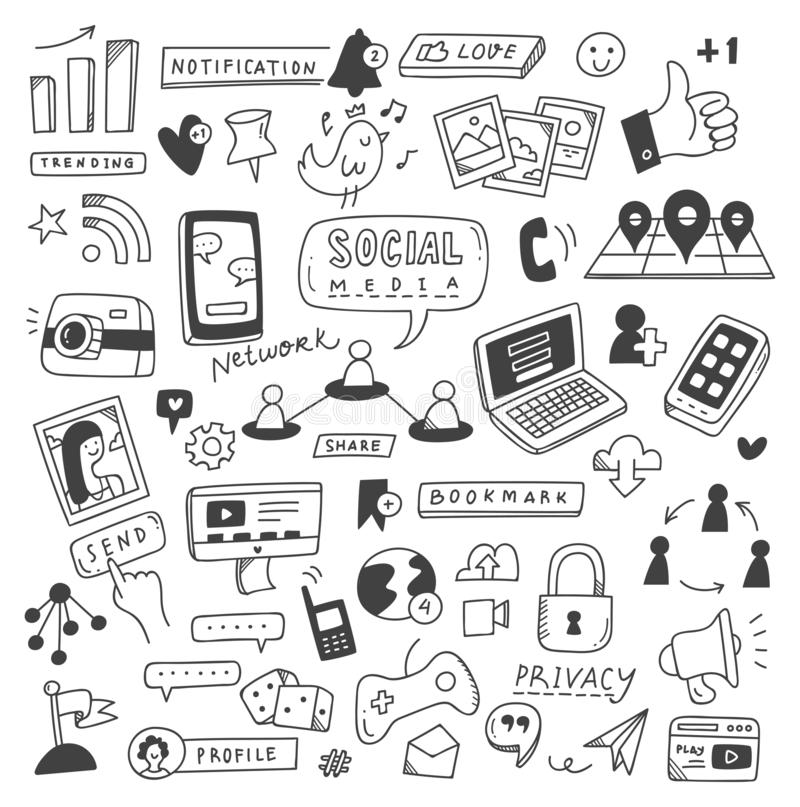 Set of social media doodles. Can be use as wallpaper, design elements, icon etc stock illustration