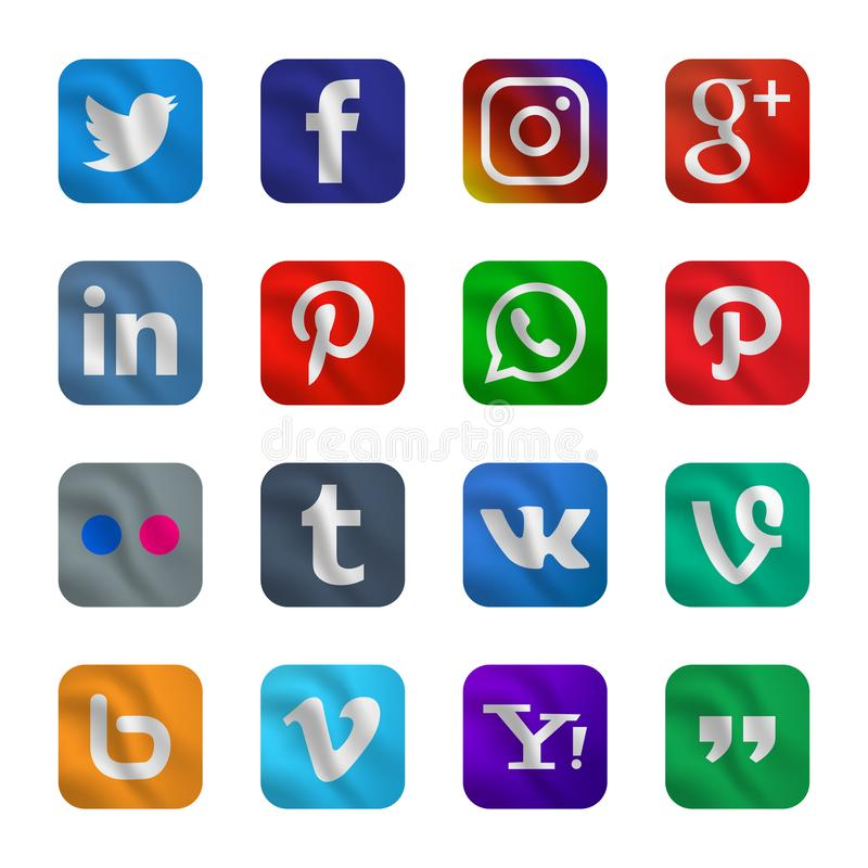 Set of social media icon with waving style stock photography