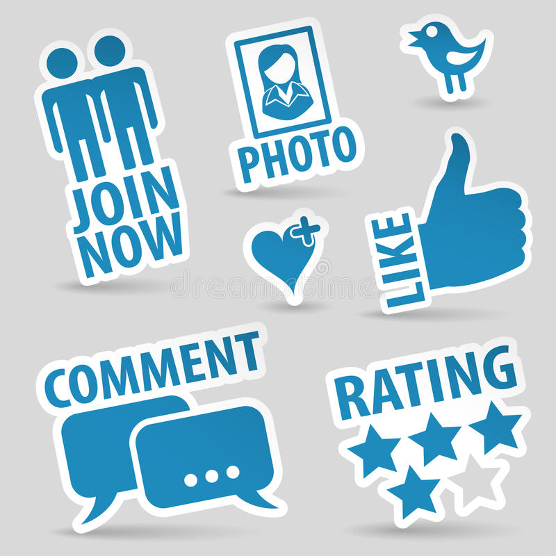 Set Social Media Icons. Set Social Media Stickers with Like, Speech Bubble, Heart, Like, Join and Bird Icon, vector