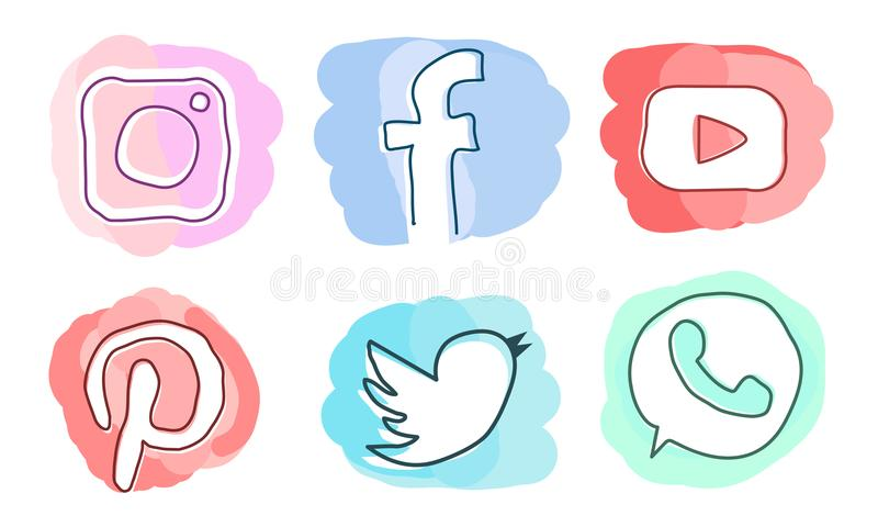 Set of social media icons: Instagram, Facebook, Pinterest, YouTube, Twitter, WhatsApp. Modern style watercolor imitation. Vector icons in pastel colors. For vector illustration