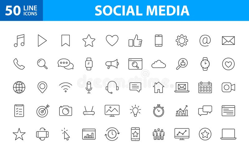 Set of 50 Social Media web icons in line style. Contact, digital, social networks, technology, website. Vector illustration stock illustration